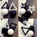 Простые белые черные геометрические серьги-капли для женщин, звезды, квадратные, треугольные, нестандартные крупные серьги, Модная бижутер...