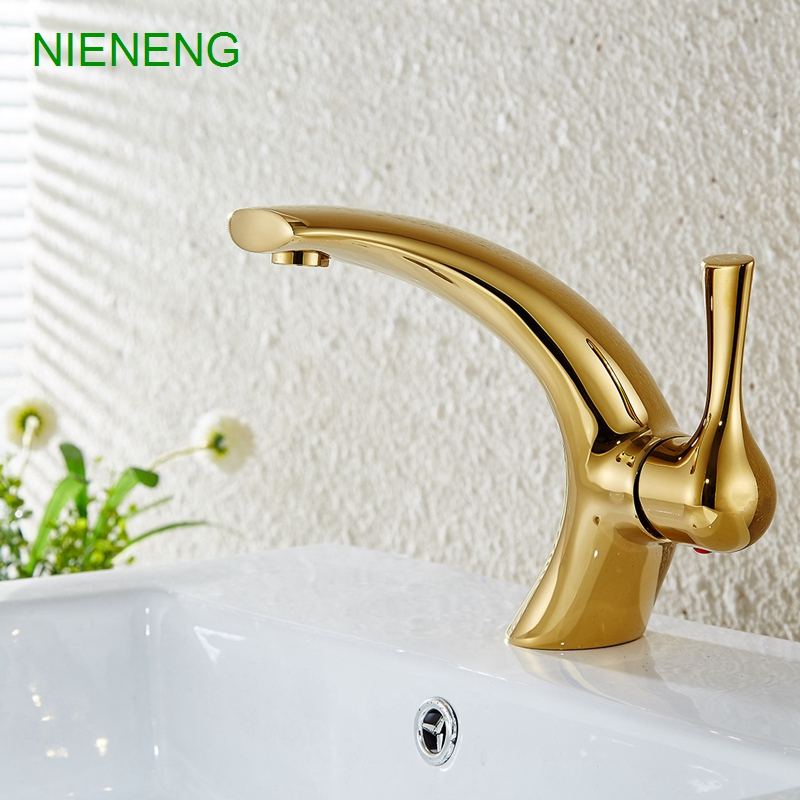 Online Shop NIENENG Bathroom Faucet Sink Tap Water Brass Golden - Brass colored bathroom faucets