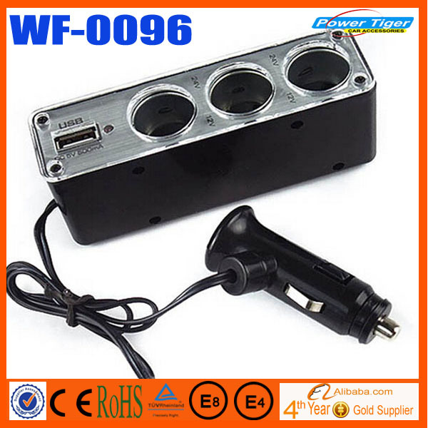 USB3 way Auto Car Cigarette Lighter Socket Splitter Plug Charger WF