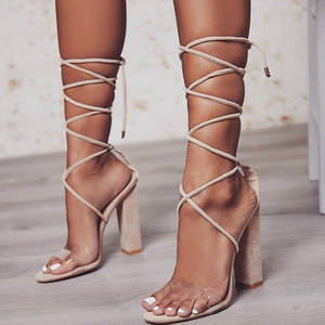 e57fe619e6 hengsong Sandals Summer High Heels Woman Thick Nude Shoes