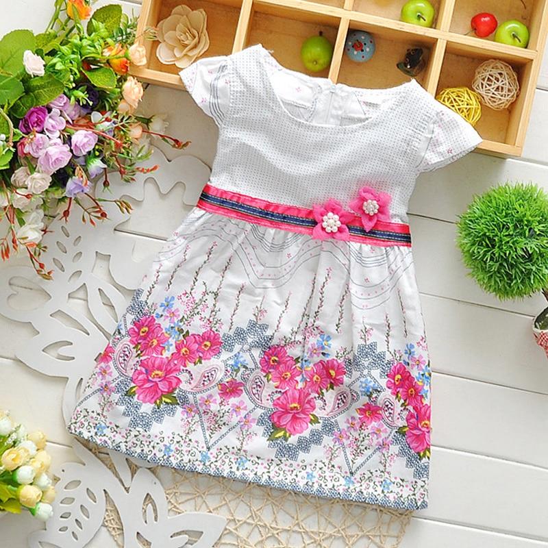 Retail 2017 Baby girl fashion dress print pearl kids summer dresses girls princess baby dress free shipping