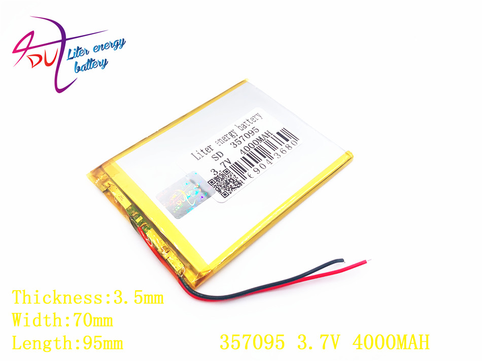 Liter energy battery 357095 3.7V 4000mah (polymer lithium ion battery) Li-ion battery for tablet pc 7 inch MP3 MP4 357096 3 7v 8000mah sd 37125130 polymer lithium ion li ion battery for universal li ion battery for tablet pc 8 inch 9 inch 10 inch