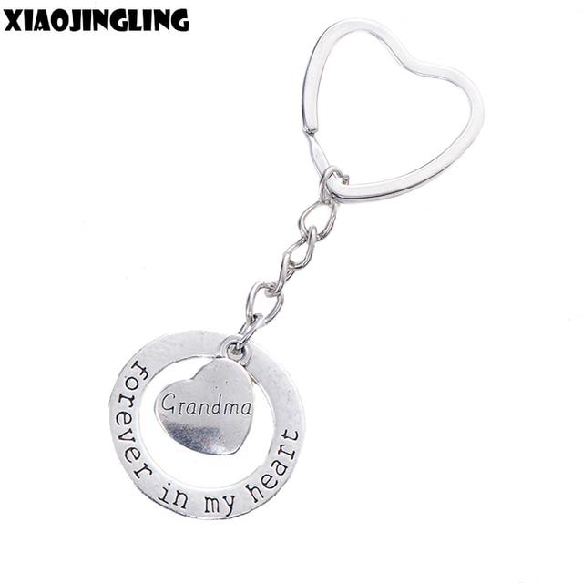 XIAOJINGLING Fashion Keychain Women Jewelry Charm Heart Keyring Birthday Gift Grandma Forever In My