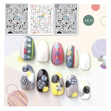 Newest CA-265 266 colorful dots design 3d nail manicure back glue decal decorations stickers