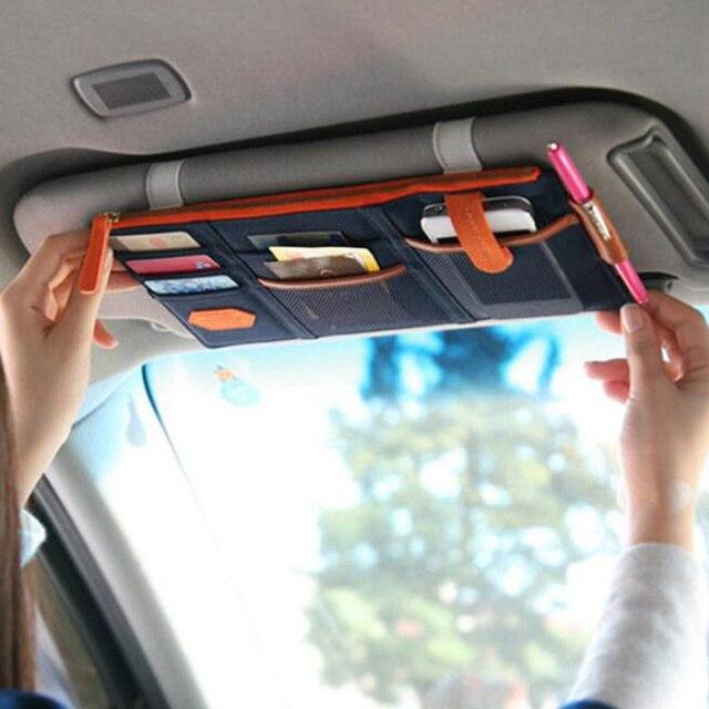 Car Sun Visor Receive Bag Car Boot Storage Bag Box Multi-Use Tools Organizer Bag For Sunglasses Ticket Fuel Card Mobile Phone