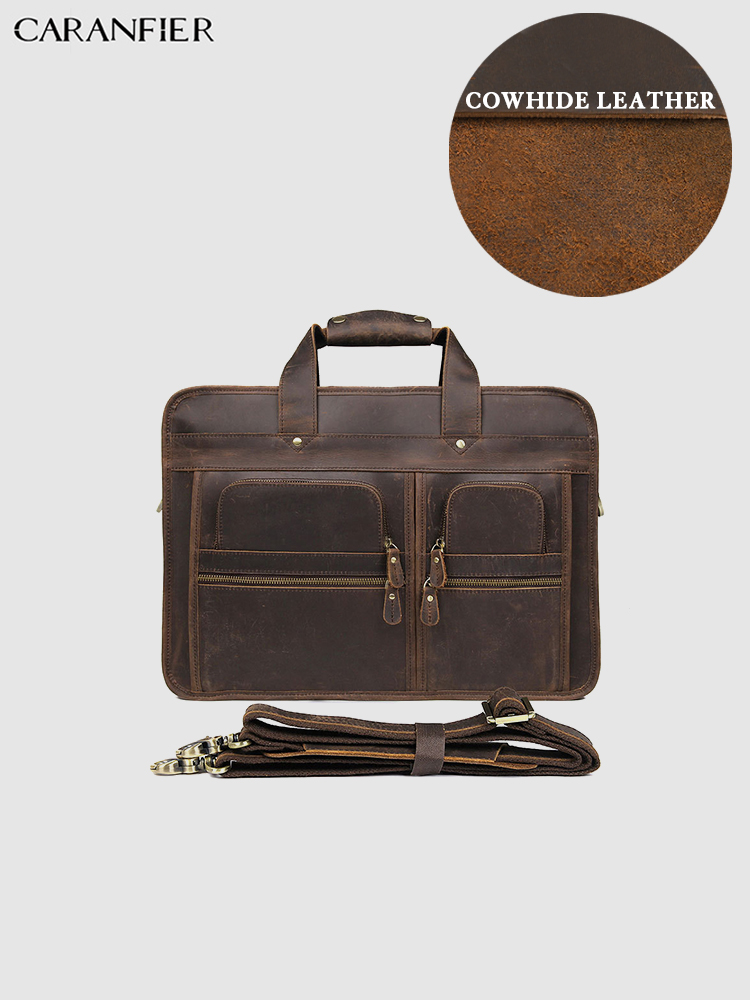 CARANFIER Mens Briefcases Crazy Horse Genuine Cowhide Leather Business Large Capacity Laptop Bags High Quality Vintage Handbags