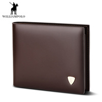 2019 Fashion Slim Men Wallet 100% Genuine Cow Leather Men Purses High Quality Mens Brown Coin Pocket Clutch Bag For Mens Gift