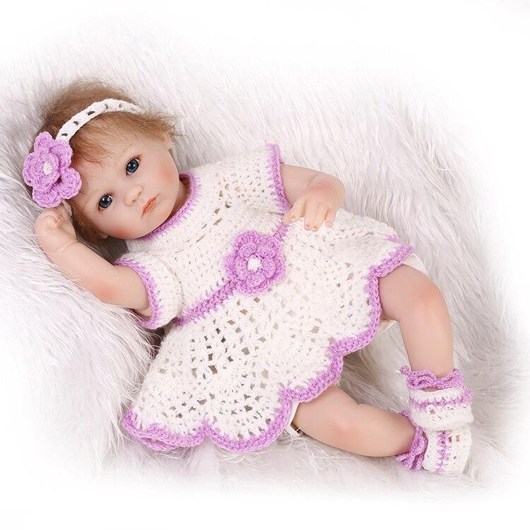Premie nouveau-né belle petite 17 pouces 40 CM silicone souple vinyle réel doux doux toucher reborn bébé poupée peut mettre son voix