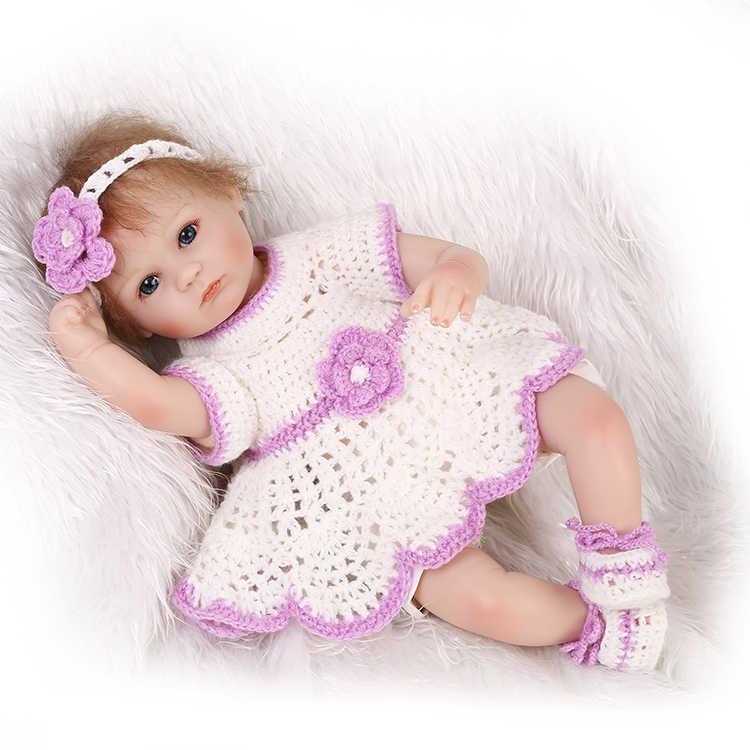 Premie recém-nascidos adorável pequeno 17 polegadas 40 CM boneca reborn vinil silicone macio real toque suave e gentil pode colocar som de voz