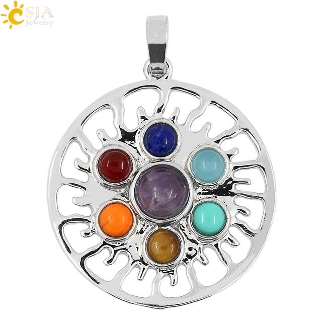 Csja 2015 Reiki Sun Shaped 7 Chakras Symbols Stone Pendant Yoga