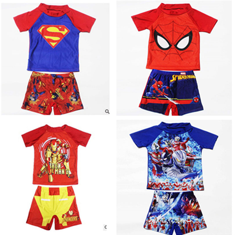 5e09689774 Detail Feedback Questions about 2 11Years Kids Teen Boys Swimwear 2pcs Swim  Suit( T Shirt+ Trunk) Beach Swimsuits Sunblock Bathing Suit Superman  Spiderman ...