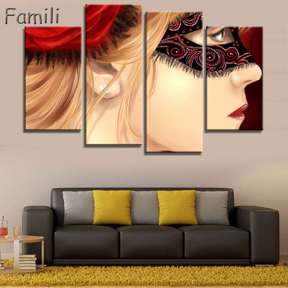 4panel/set Color Mask Face Poste of dancer Home Decor abstract ...
