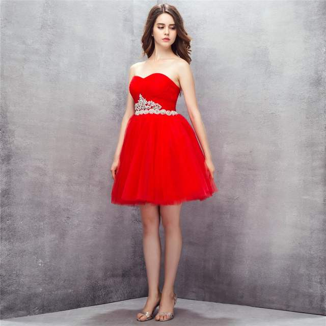 Online Shop BRLMALL Princess Red Homecoming Dress Beaded Waist Short Red  Prom Dress Sweetheart Backless Cocktail party dress ball gown  26806c218e2e
