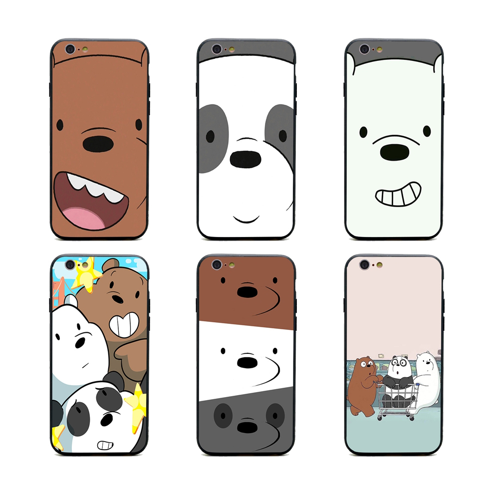 new concept c9bfb f6af4 US $1.64 34% OFF|we bare bears miniso phone cases TPU+PC Black covers for  iPhone X 6 7 8 plus 5 5s 6s se for Apple X best diy case-in Half-wrapped ...