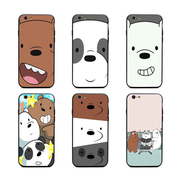 new concept b0bfe 16891 US $1.64 34% OFF|we bare bears miniso phone cases TPU+PC Black covers for  iPhone X 6 7 8 plus 5 5s 6s se for Apple X best diy case-in Half-wrapped ...