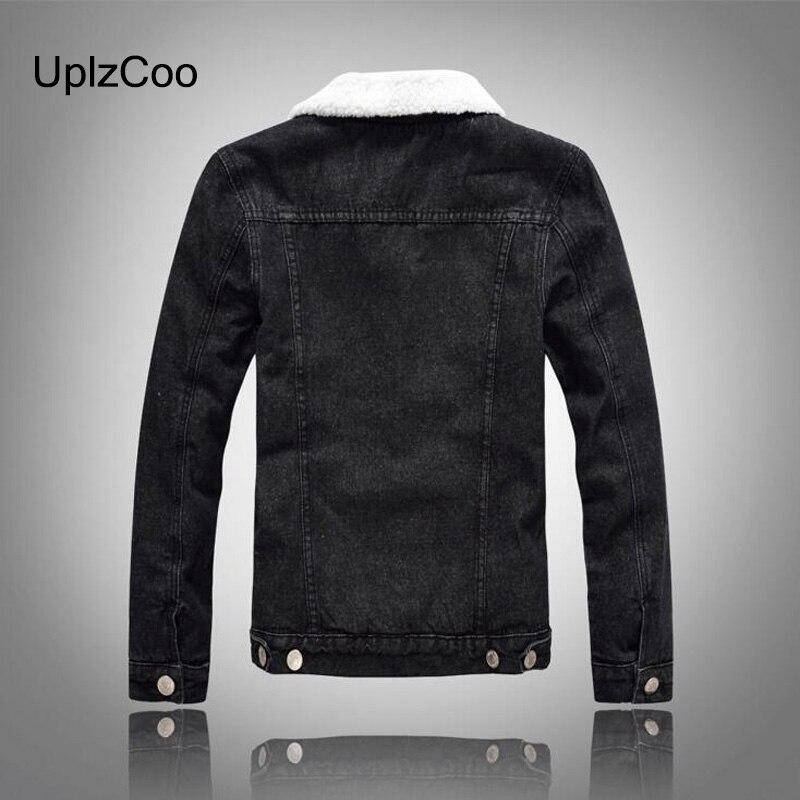 UplzCoo Men Jacket Autumn Winter New Casual Jacket Slim Jacket Zipper Fleece Black Denim Men Coat Cotton Fur Collar 5XL FM138 - 2