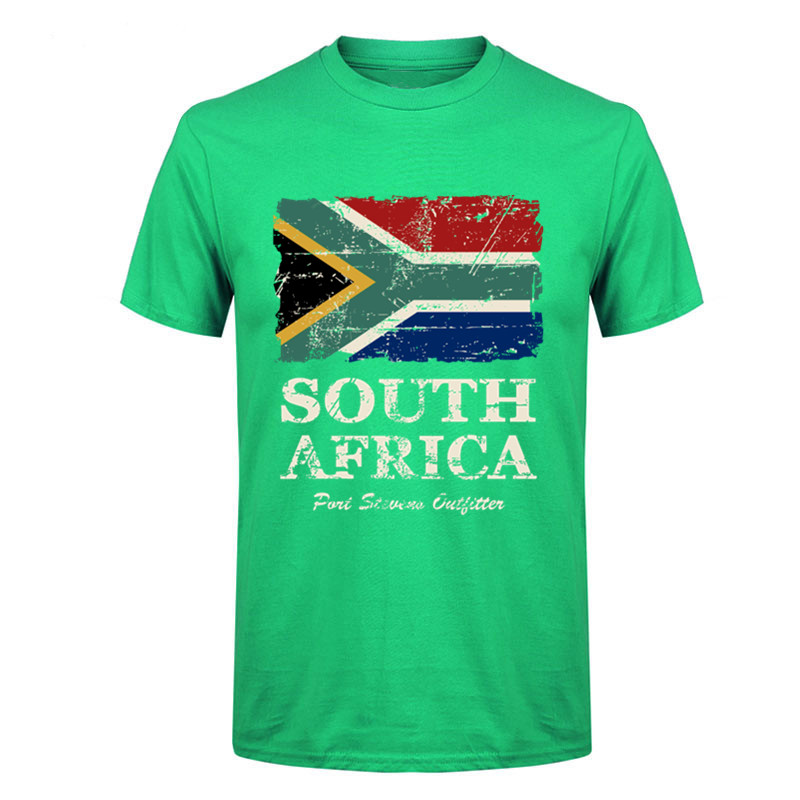 Free delivery 2017 newest Fashion Screw Neck pure cotton South Africa Flag Men Short T Shirt 3XL Boy new Brand nation day TShirt