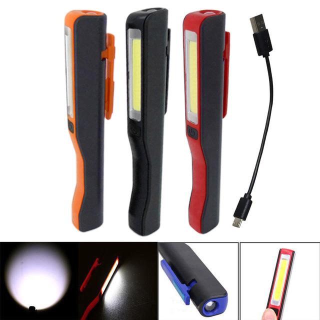 New Mini COB LED Pen Light Clip Magnet USB Rechargeable Work Torch Flashlight Lamp CLH@8