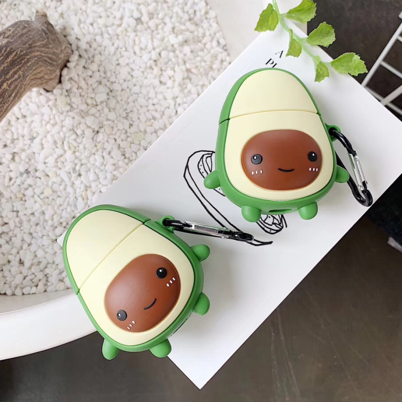 For AirPods Case Cute 3D Cartoon Avocado Earphone Case For Apple Airpods 2 Silicone Headphone Cover For Air Pods Earpods Strap