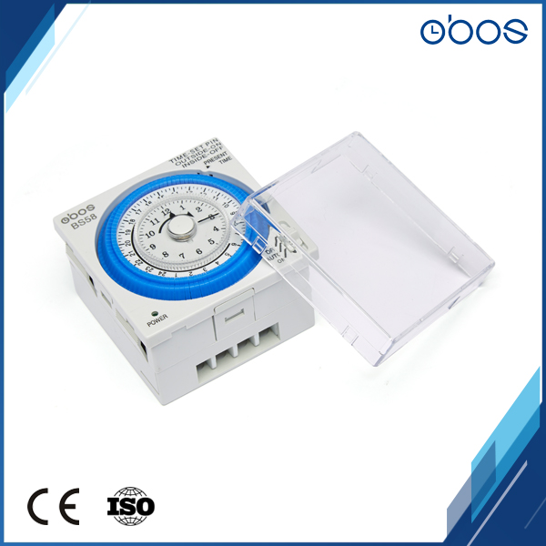 US $22 4 50% OFF|230V OBOS brand 24H time switch small body mechanical  timer switch with 96 times on /off per day minimum setting unit 15 mins-in