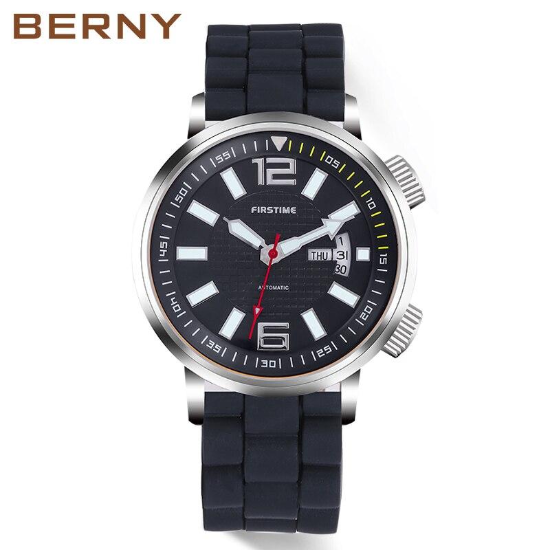 546f3fc331d BERNY Marca Mecânico Automático Relógios Homens Auto Data Homens Relógio À  Prova D  Água Clássico