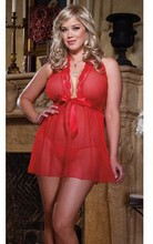 Plus Size Sexy Lingerie Bow Tie Front Tube Babydoll Dresses Sexy Lace Decorate Lingerie Lady Lingerie Big Size