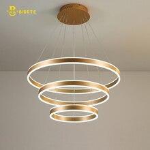 Luxury Modern chandelier LED circle ring light for living room Acrylic Lustre Chandelier Lighting Rose Gold