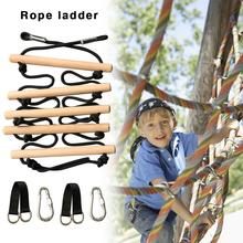 Wooden Climbing Rope Ladder Swing For Children Climbing Fun Toy Kids Sport Rope Swing Safe Fitness Toys Equipment Outdoor Garden