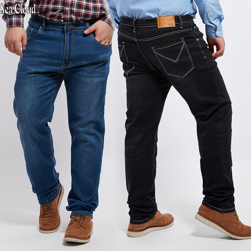 TOP Free Shipping Men Straight Jeans Male Plus Size 28-48 Long Trousers Loose Man Hiphop Pants Extra Large Hip Hop