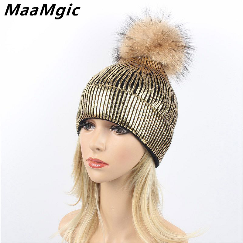 Fashion Bronzing Gold and Silver with Caps Raccoon Fur Pompon Hat for Women Winter Knitting Warm Hats Female   skullies     beanies