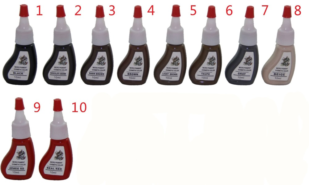 ФОТО 10piece/lot  Professional Tattoo Ink Pigment 10ML10 Colors ink Permanent Eyebrow Lip Makeup Tattoo pigment