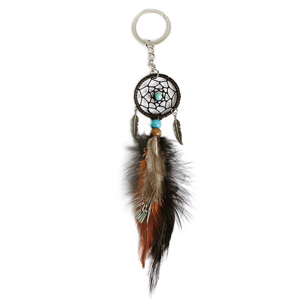 Gift brown Black Beads Dreamcatcher Feather Wind Chimes Dream Catcher Key Chain Women Vintage Indian Style Keychain