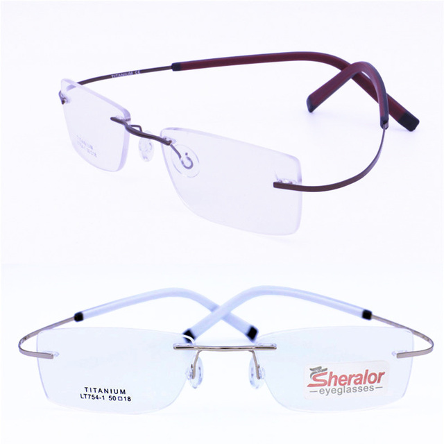 36f122efed LT754 pure titanium rimless IP vacuum electroplating color ultra flexible  hingeless temple rectangle eyeglasses frame for