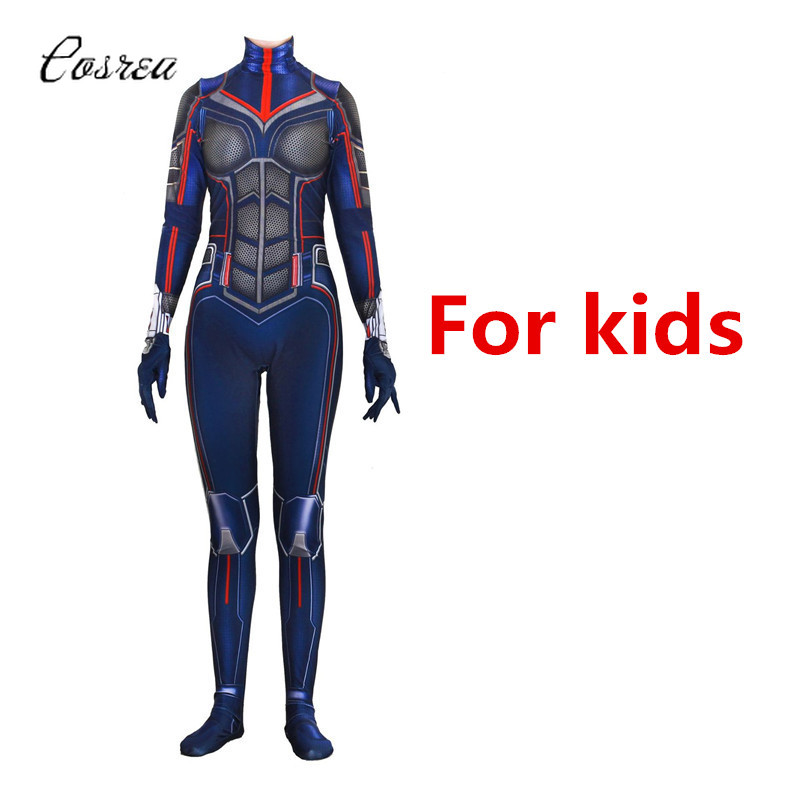 Wasp Costume Janet Van Dyne Superhero Onesie Kids Bodysuit One-piece Spandex Catsuit Zentai Cosplay Girls Halloween Costume