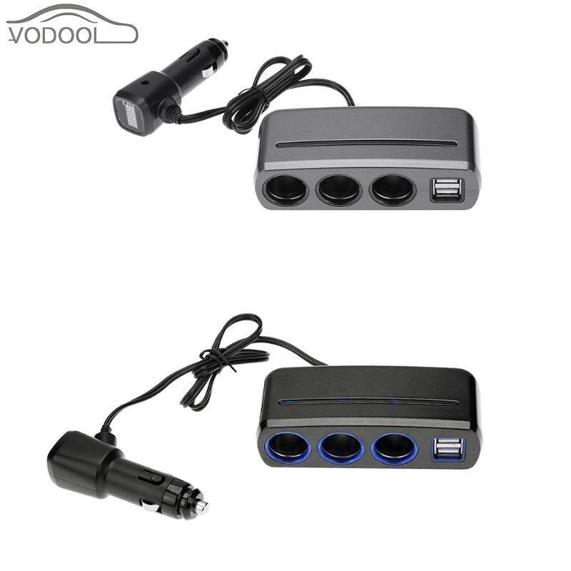 Dual <font><b>USB</b></font> Автомобильное Зарядное устройство 3 Way Авто-прикуриватели разъем сплиттер Адаптеры питания со светодиодной Напряжение Дисплей ж/незав&#8230;