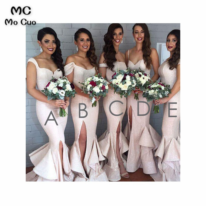 Sexy 2019 Mermaid Sequined   Bridesmaid     Dress   with ABCDE Design Wedding Party   Dress   Formal   Bridesmaid     Dresses