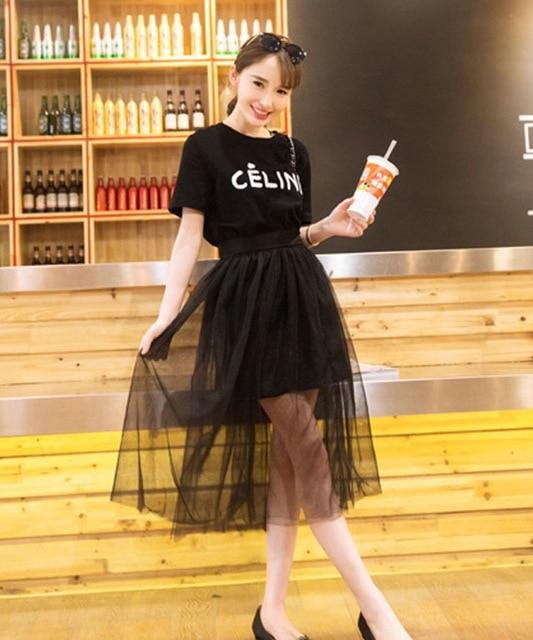 0d9dbd7e5f0 Plus Size Fashion Cheap top and skirt set (t shirt +skirt) black mesh long  skirts summer style 2 piece set women sport suit saia