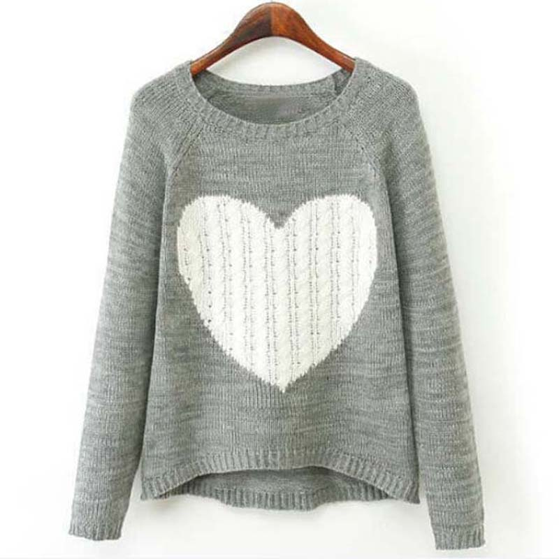 HEE GRAND New Fashion Women Sweater Elegant Heart Pattern Pullover ...