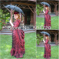 Freeshipping!1860s Red Civil War Southern Belle Ball Gown Victorian/Scarlett Lolita dress US6 26 V 325