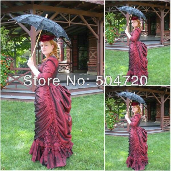 Livraison gratuite! 1860 s rouge guerre civile sud Belle robe de bal victorienne/Scarlett Lolita robe US6-26 V-325