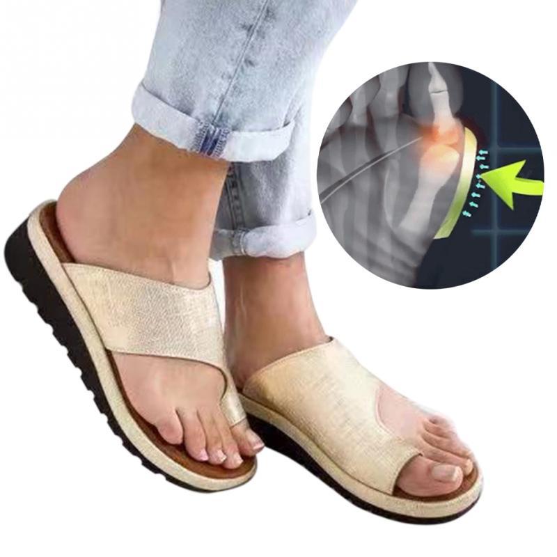Toning-schuh Frauen Pu Leder Schuhe Bequeme Plattform Flache Sohle Damen Casual Weiche Big Toe Fuß Korrektur Sandale Orthopädische Bunion Corrector Mit Dem Besten Service