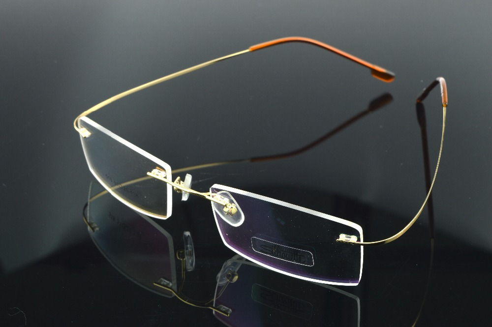 964c1a0bb140 2017 Golden Titanium Alloy Rimless Super Light Weight Commercial Men Women  Reading Glasses Metal Frame Gafas Oculos Briller-in Eyewear Frames from  Apparel ...