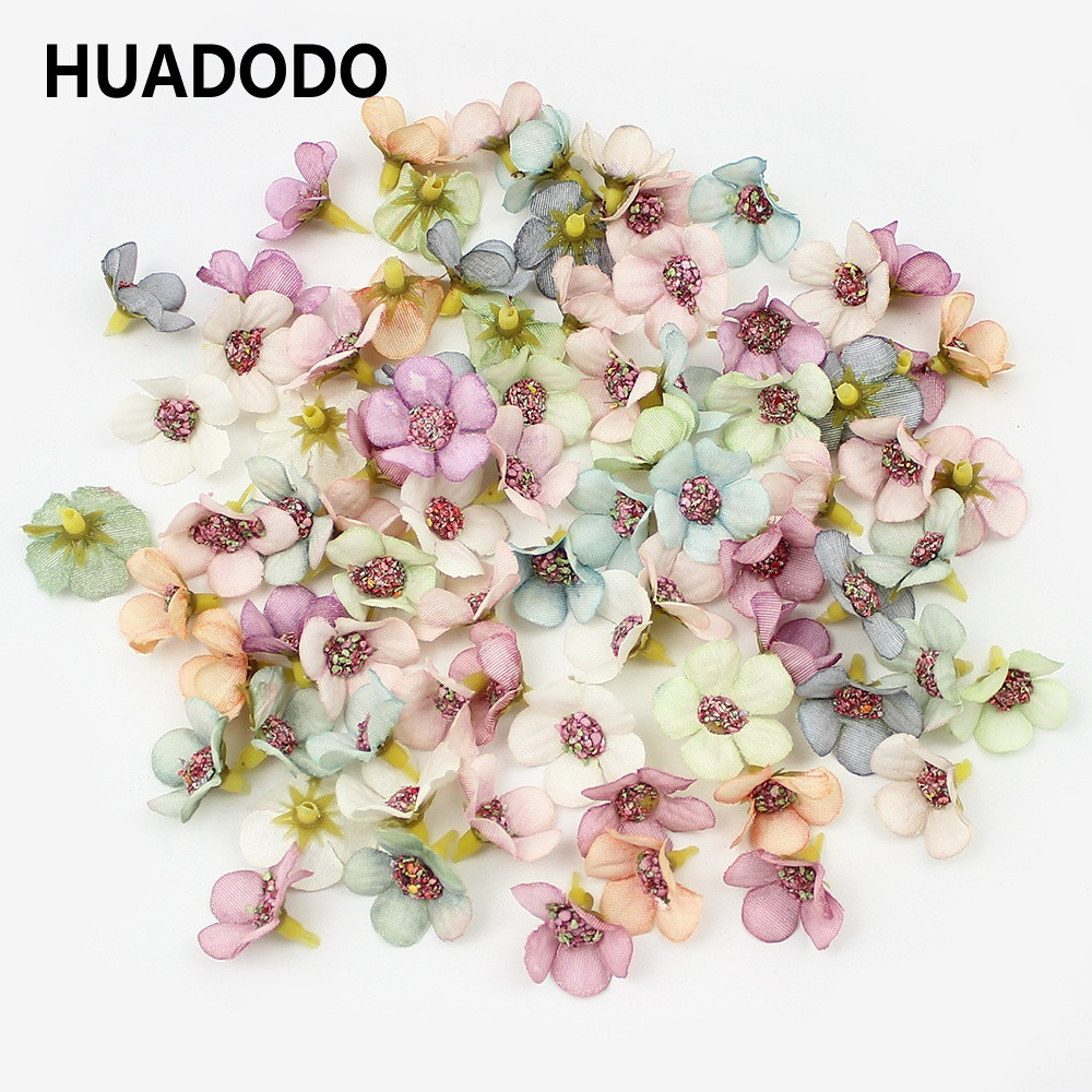 HUADODO 50Pcs 2cm Multicolor Daisy Flower Heads Mini Silk Artificial Flowers For Wreath Scrapbooking Home Wedding Decoration