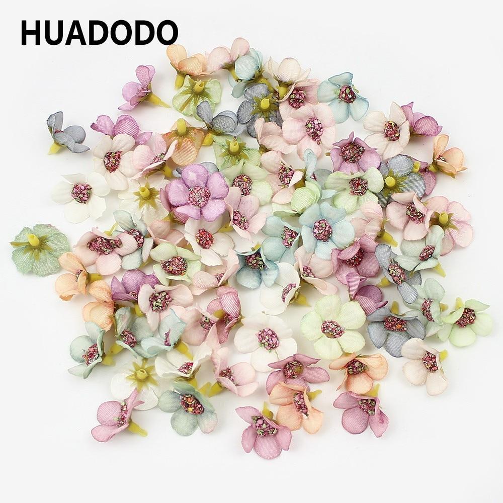 HUADODO 50 шт 2 см многоцветный маргаритки мини шелк искусственный цветы для венок Скрапбукинг дома Свадебные украшения