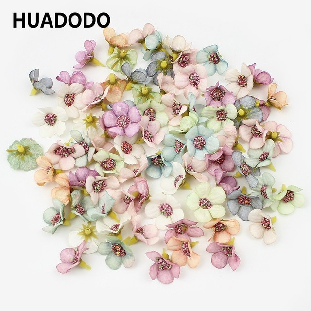HUADODO 50 Pcs 2 cm Nhiều Màu Daisy Flower Heads Mini Silk Nhân Tạo Hoa cho Vòng Hoa Scrapbooking Nhà Trang Trí Đám Cưới