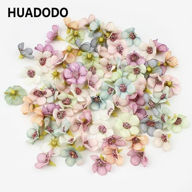 HUADODO 50Pcs 2cm Multicolor Daisy Flower Heads Mini Silk Artificial Flowers for Wreath Scrapbooking Home Wedding Decoration