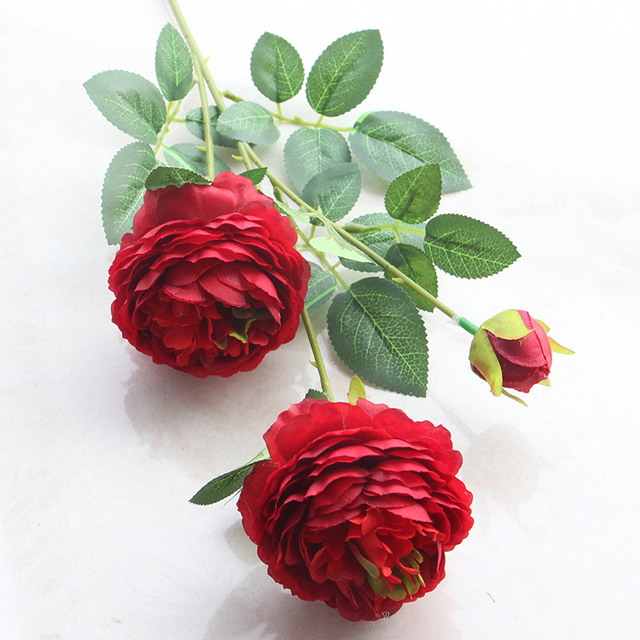 1pc 3 Head Plastic Flower Silk Artificial Peony Branch Realistic Flowers And Leaves Home Wedding