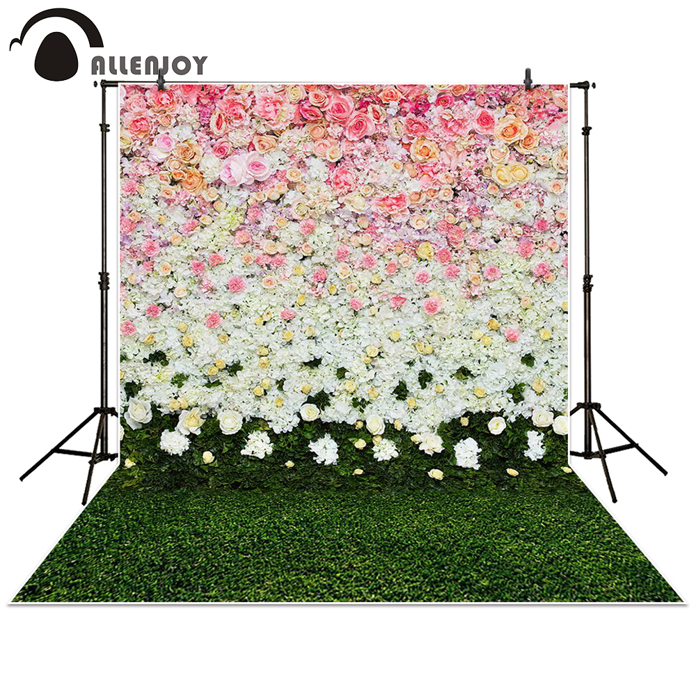 Allenjoy Photography Backdrop flowers wall lawn interior grass wedding background props photocall photobooth Photo studio