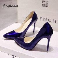 ヌードカラー尖ったハイヒールの靴黒い靴とパテントレザーブルー大サイズ靴s002