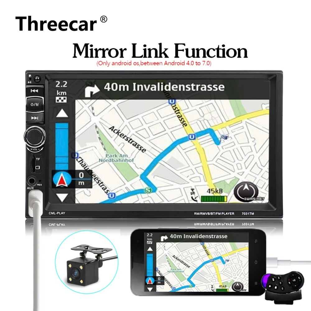 android Phone Mirror Link 2 Din Universal 7 Bluetooth Car Radio Stereo with Rear Camera 12 languages Mp5 AUX USB TF FM Radio
